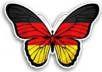 Beautiful Butterfly With Germany German Country Flag Vinyl Car Sticker 130x90mm